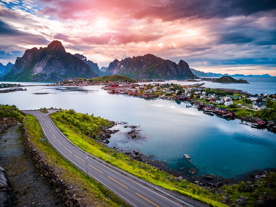 Aerial over Reine, Lofoten Islands