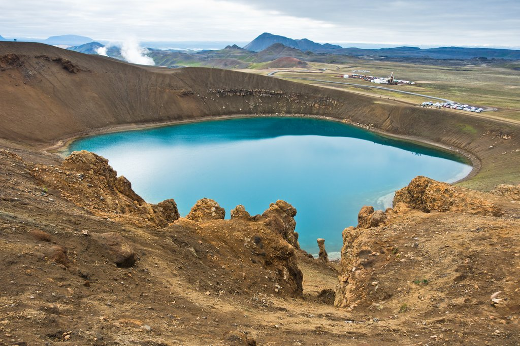 Blue waters of Viti Crater