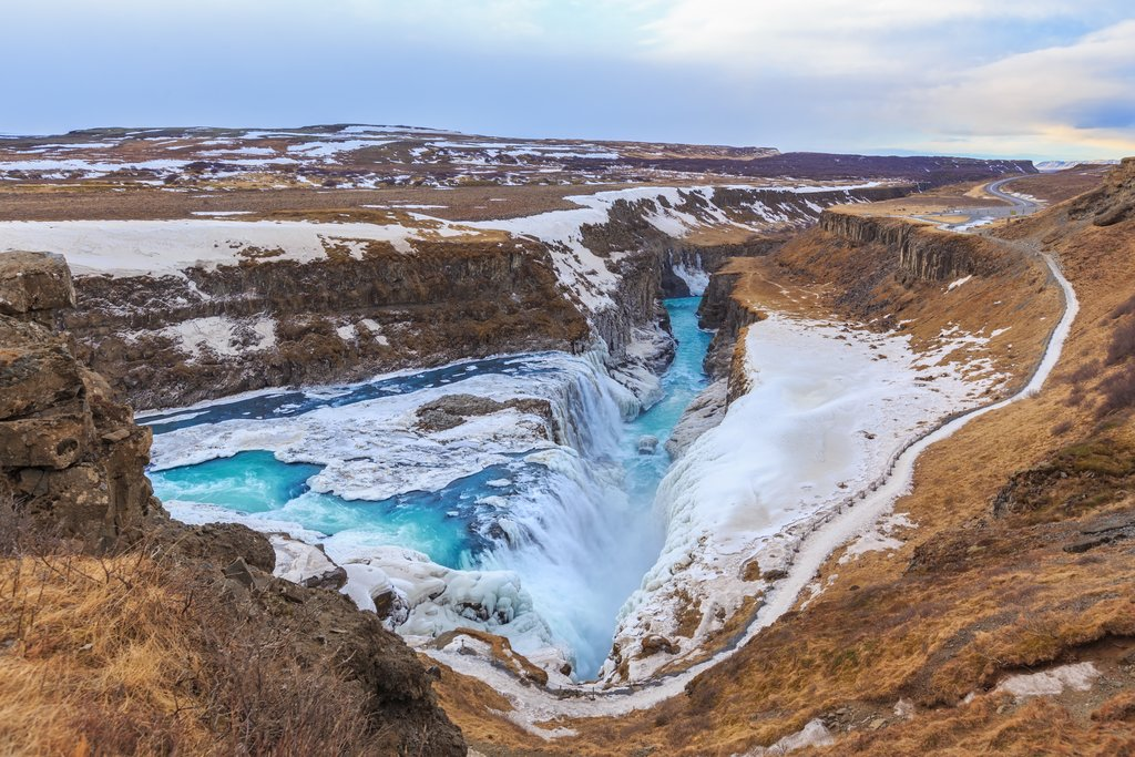 Frozen waters of Gullfoss in the winter
