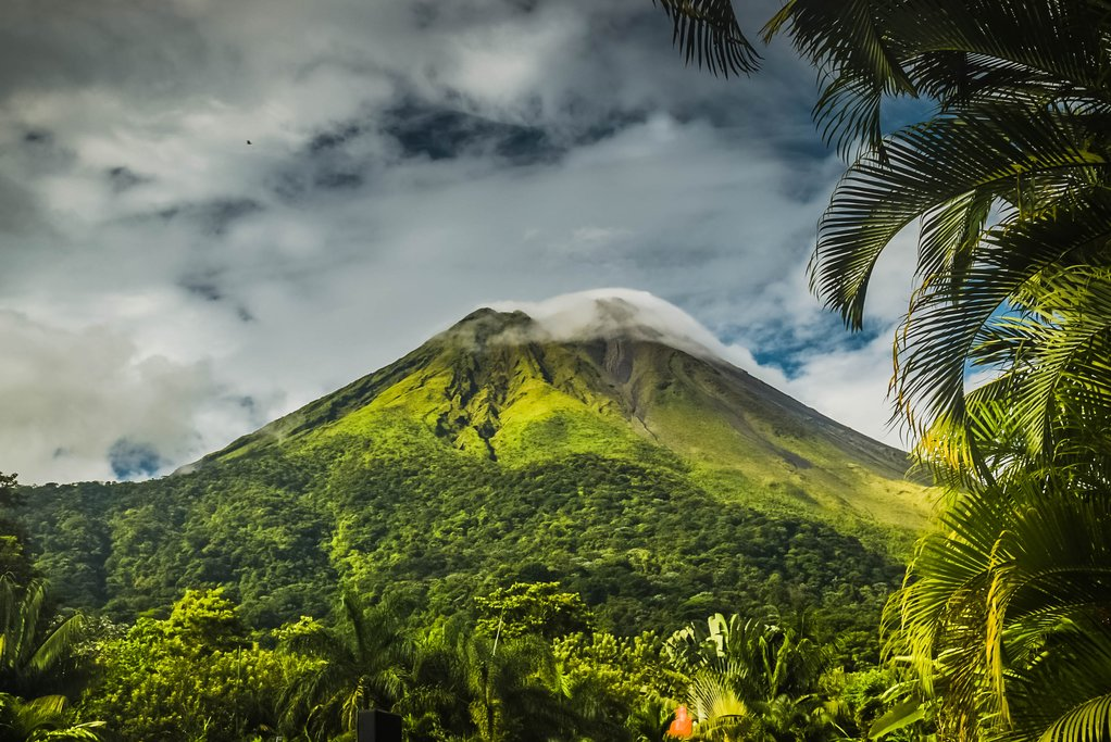 Hiking trails provide direct views of Arenal Volcano.