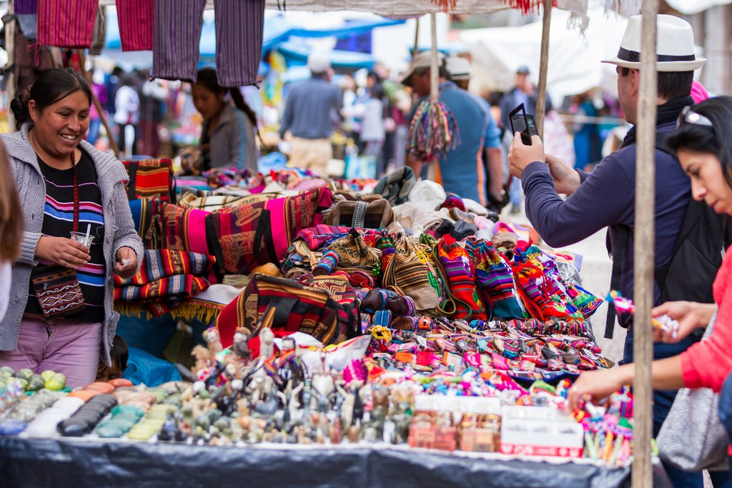 Shopping at the traditional Pisca Market is an experience of colors, textures, and sounds