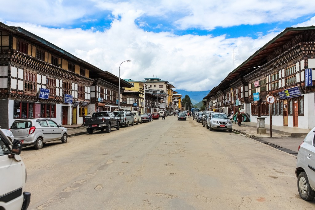 The main street of Paro