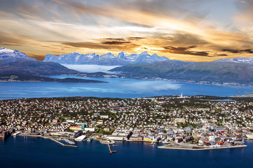 Tromsø is surrounded by mountains and sea.