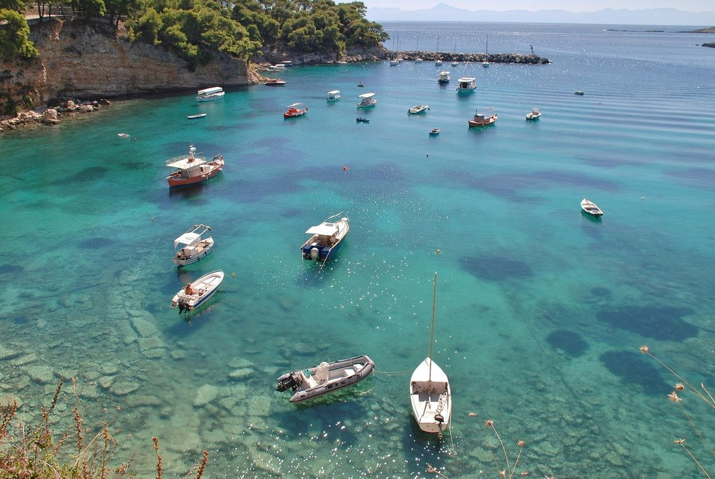 Boats in the harbor of a fishing village on the Greek island of Alonissos