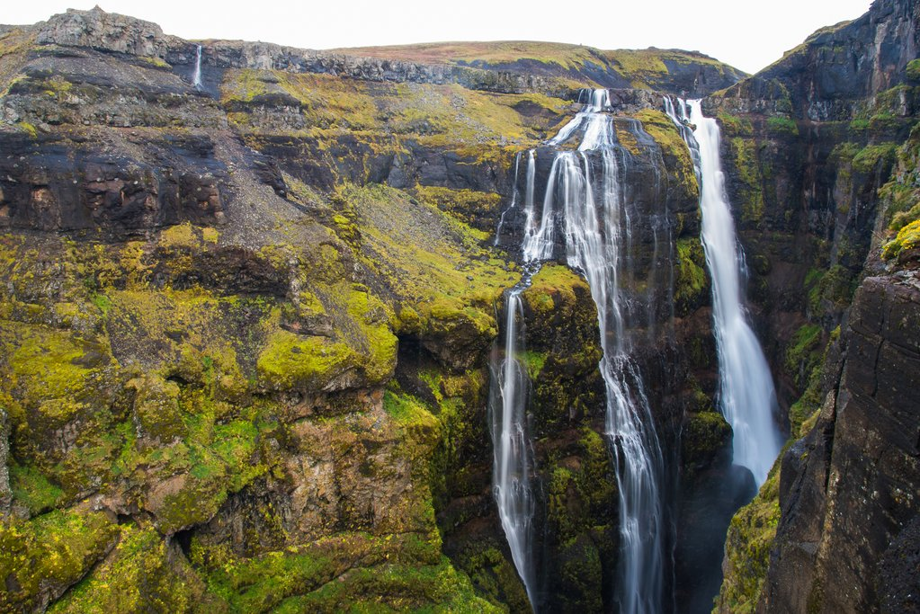 Glymur falls pours into the narrow canyon below (photo by Chris McCarty)