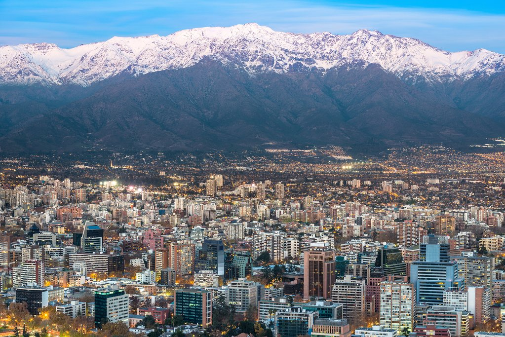 Providencia district with Los Andes Mountain Range in the back, Santiago de Chile