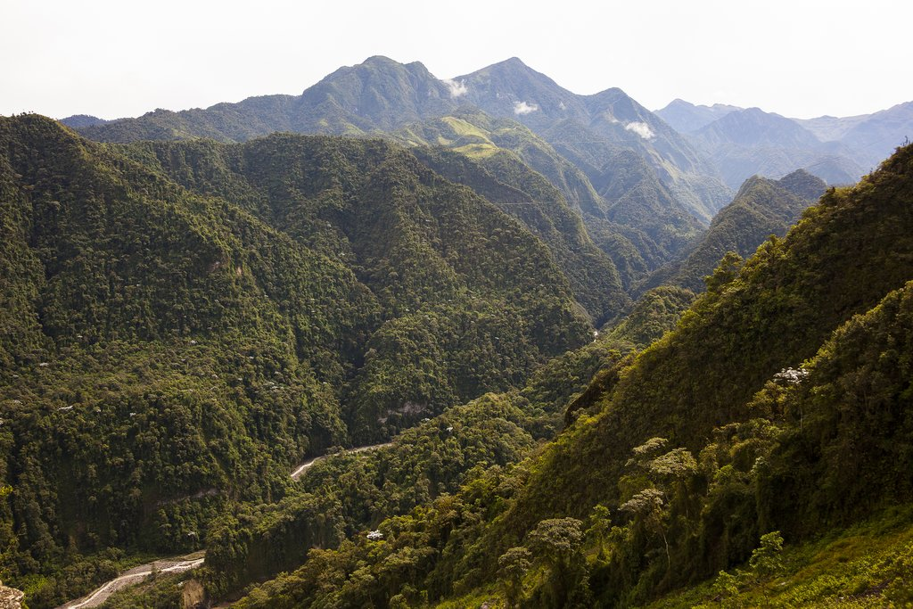 The Toachi River canyon winds through the stunning forest and steep mountain slopes