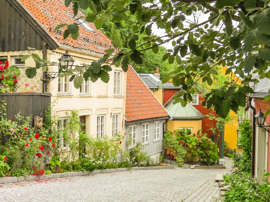 Colorful cottages with flowers out front