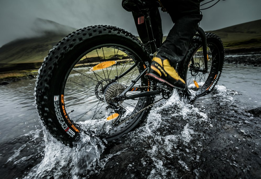 Bikes with wide tires - known as 'fatbikes' - will help you navigate the loose terrain and water crossings