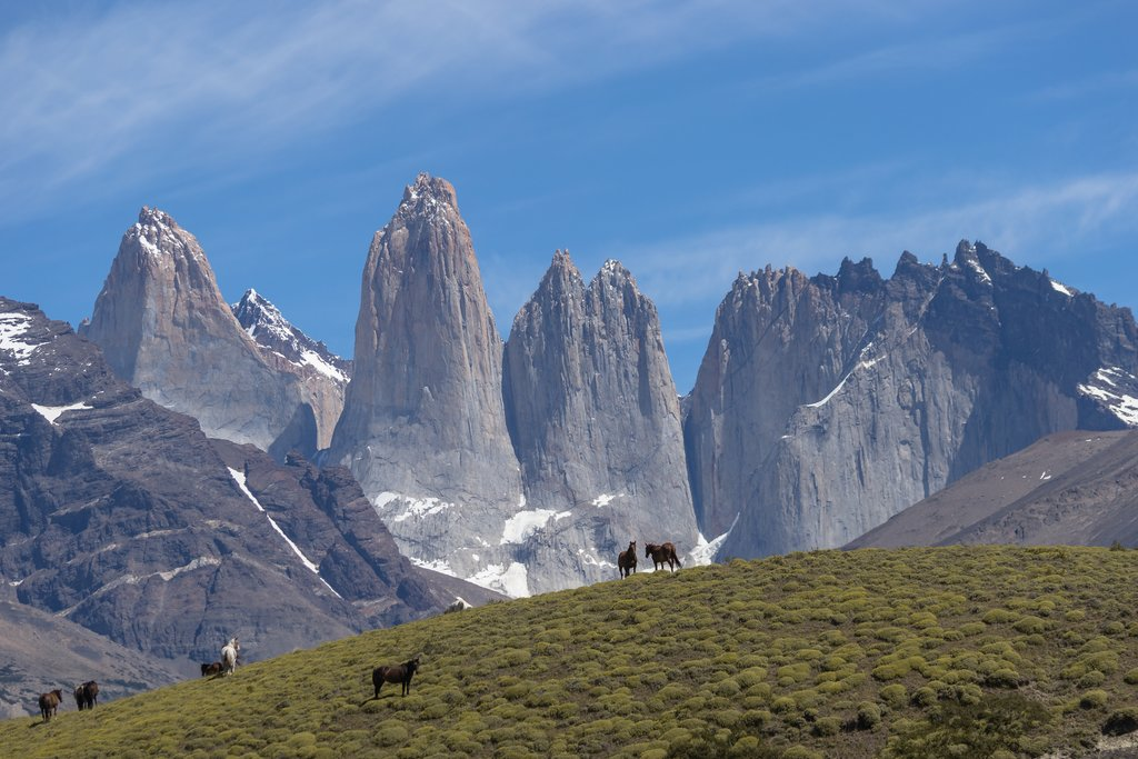 The towering granite spires of Torres Del Paine.