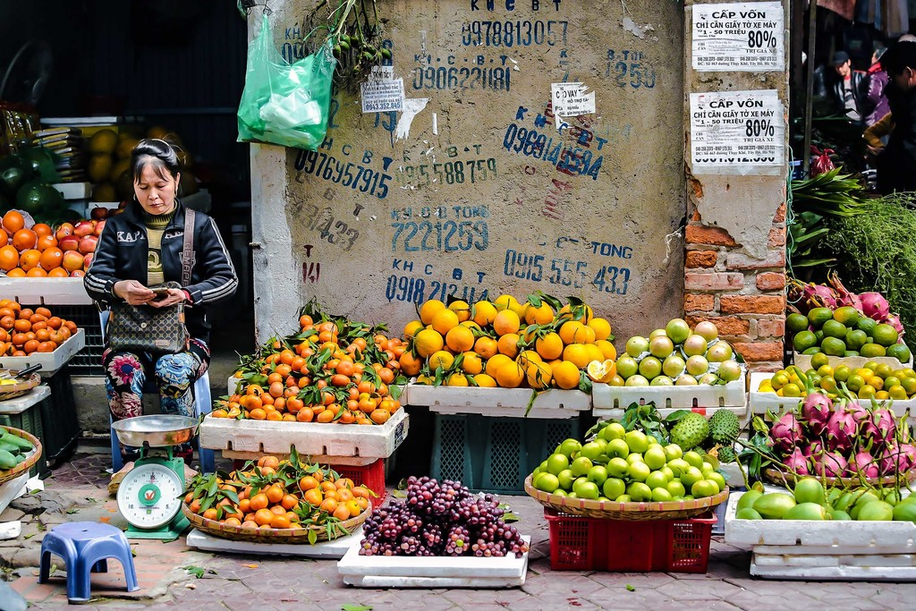Diverse fruit for sale in Hanoi