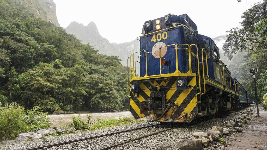 The train to Aguas Calientes, the last stop before Machu Picchu.