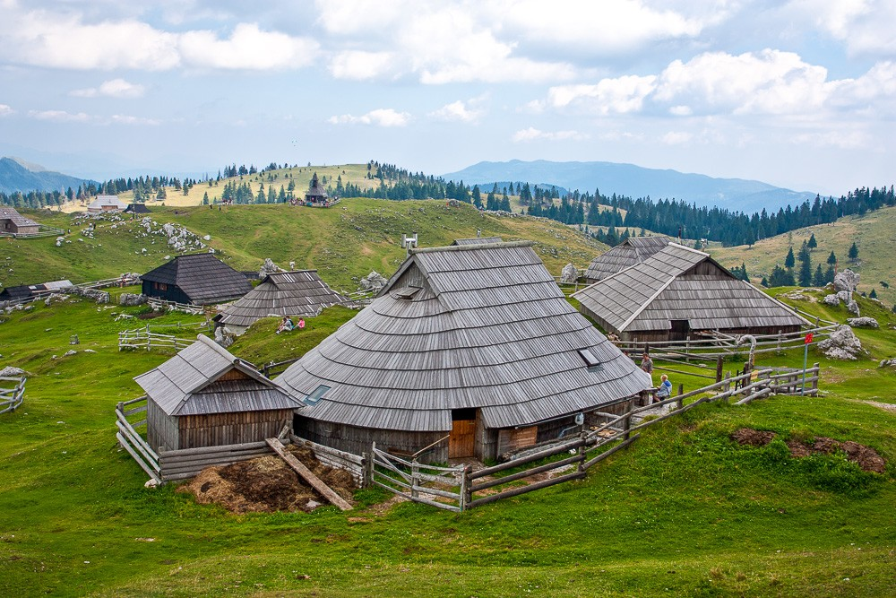 Traditional shepherd architecture in Velika Planina Meadow