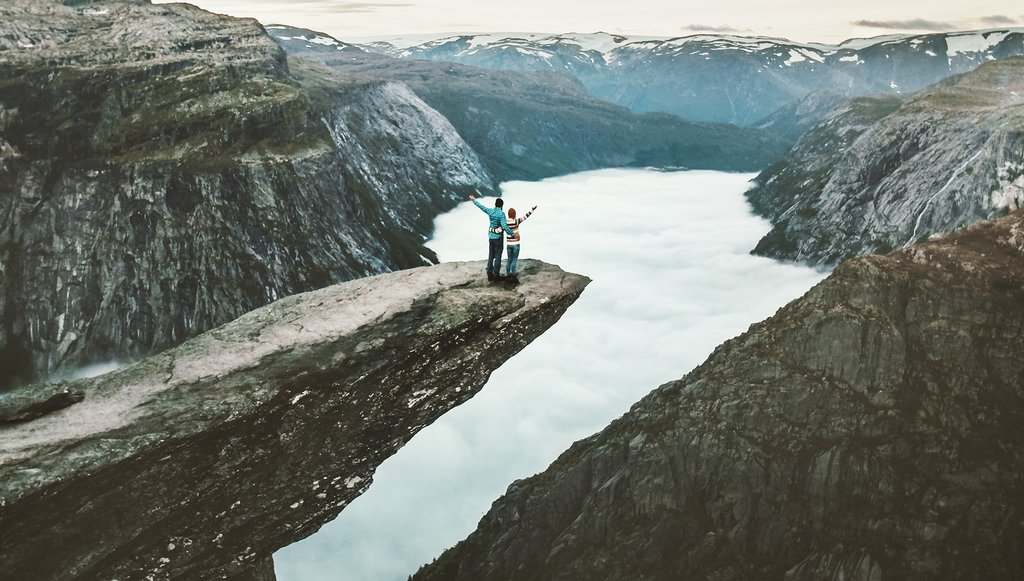 Trolltunga cliff and the landscape beyond