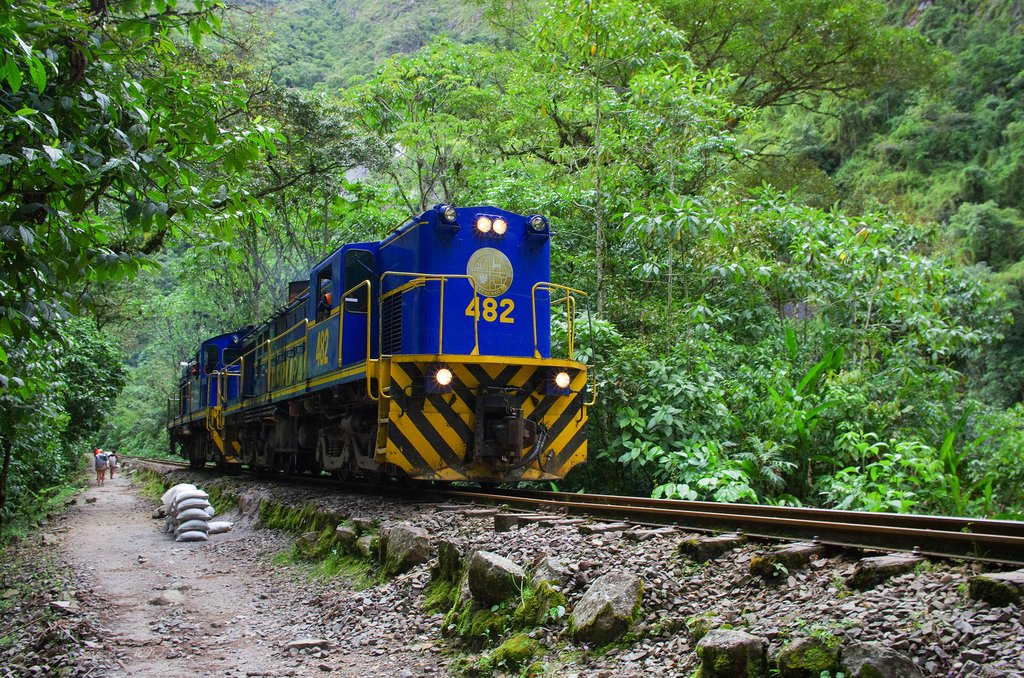 Traveling by train from Cusco to Aguas Calientes, Peru