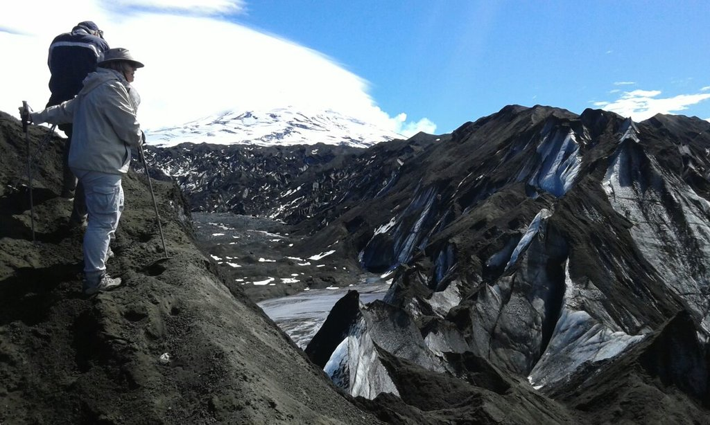 Covered with volcanic ash, the Pichillancahue Glacier looks like a scene from another planet