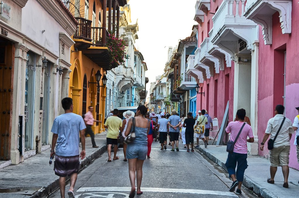 Narrow streets in Cartagena's Old town.