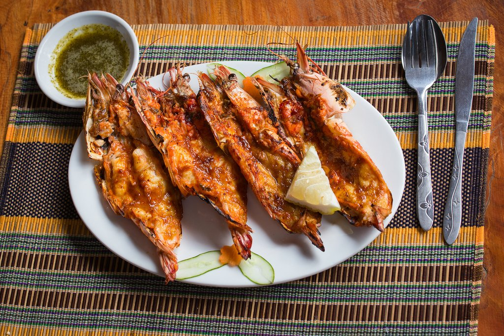 Grilled tiger prawns in a restaurant in Ngapali