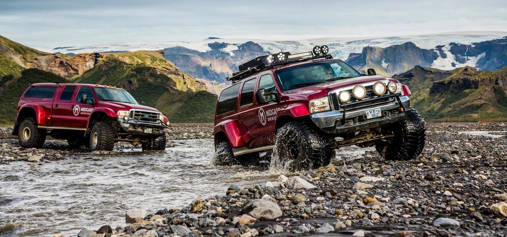Super Jeeps take on a river in Iceland