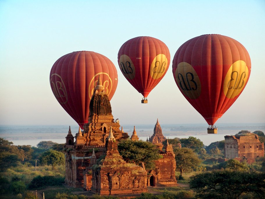 The incredible pagodas of Bagan are best seen from a hot-air balloon