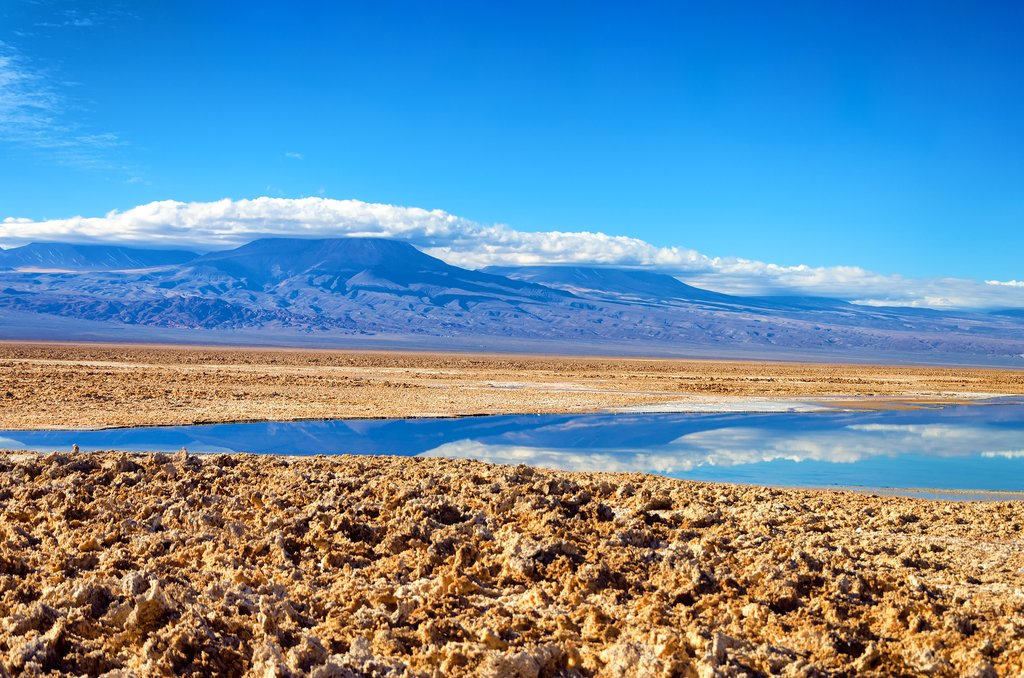 Beautiful Lake Chaxa in the Atacama Desert.