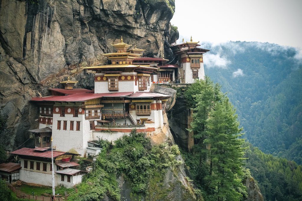 Tiger's Nest Monastery sits precariously more than half a mile off the valley floor