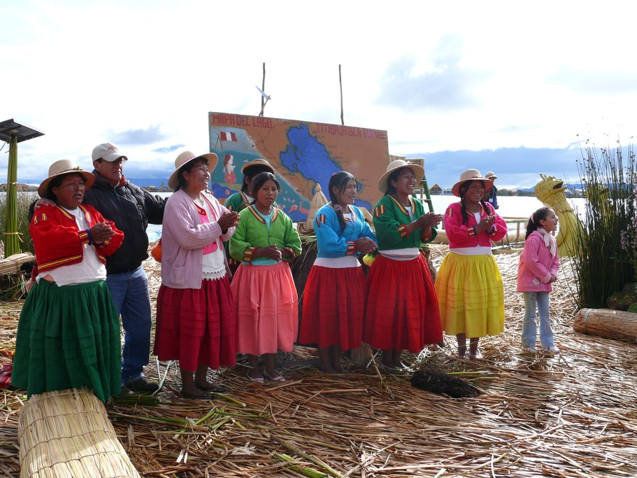 The Uru people of Lake Titicaca live on floating islands made from reeds.