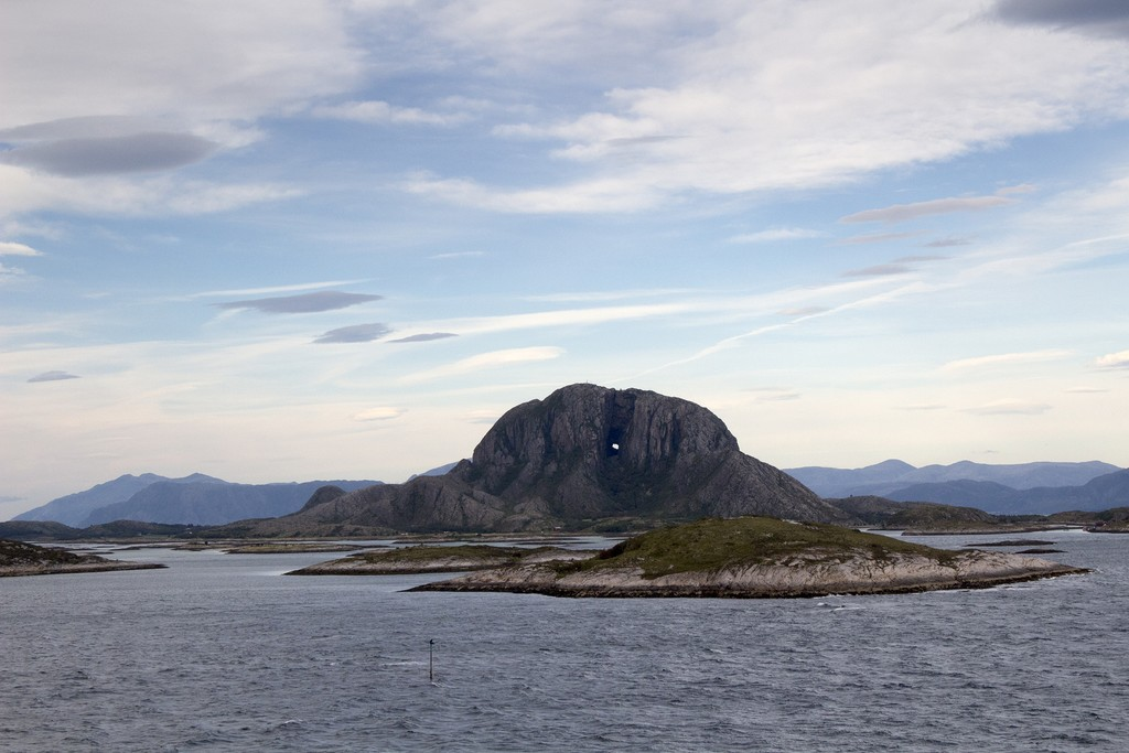 Torghatten, a granite mountain with a hole you can see through, on Torget Island, Norway