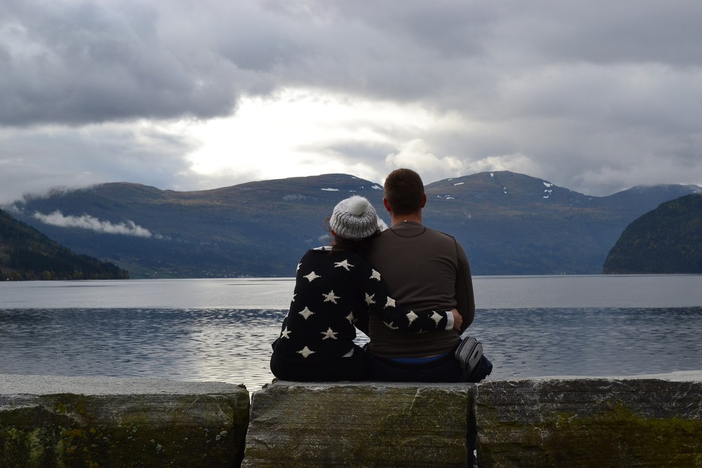 Couple in love overlooking a fjord