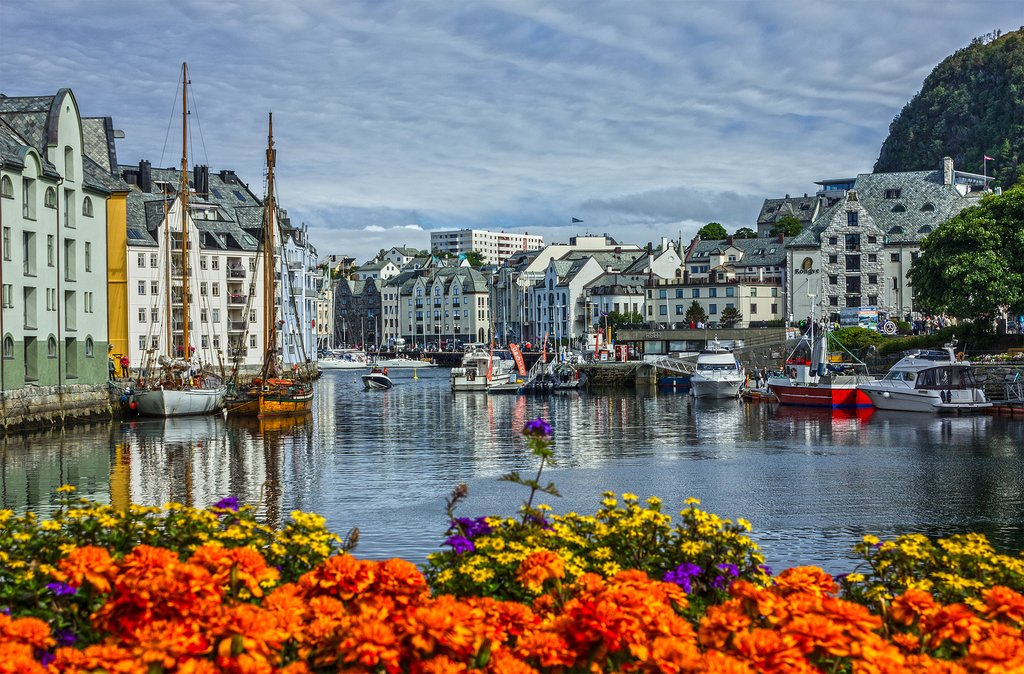 Walk the colorful streets around Ålesund's waterfront.