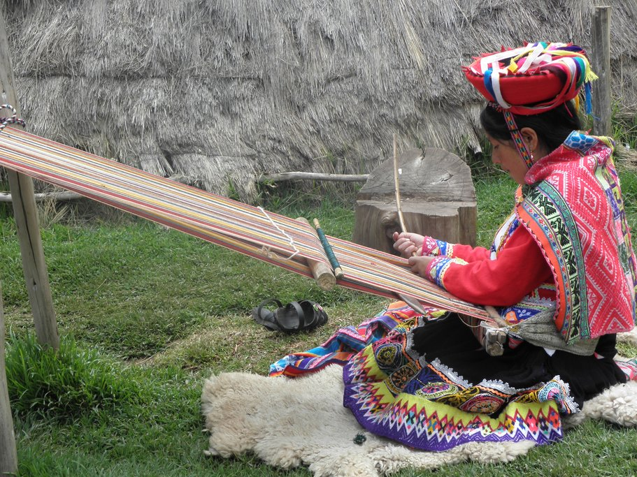 Traditional weaving techniques are still used in the villages around Cusco.