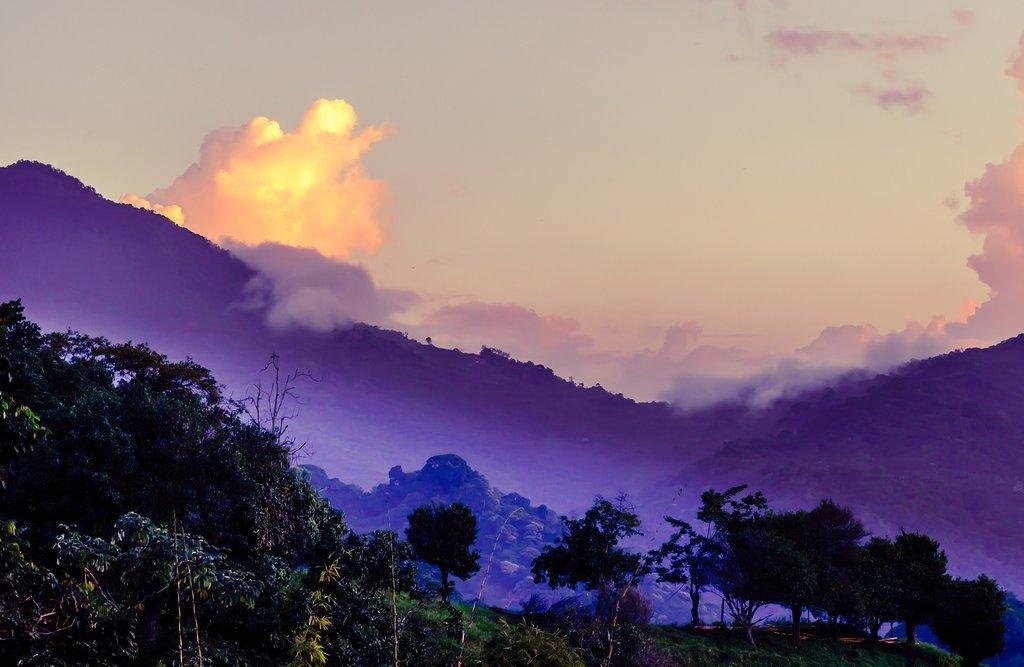 Purple mountain landscape in Minca