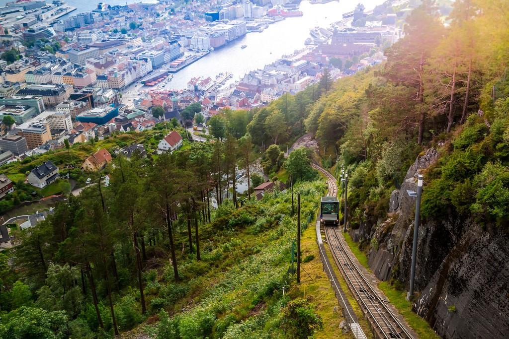 Floibanen funicular to Mt. Fløyen