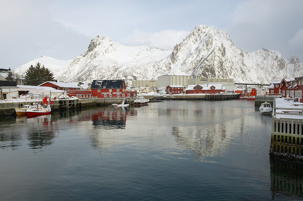 View to the buildings and the harbor of Svolvaer, Norway.