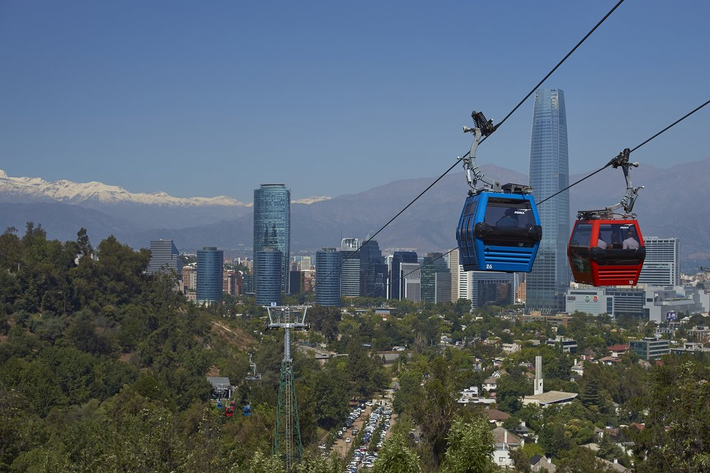 Cable cars traveling to the summit of Cerro San Cristóbal.