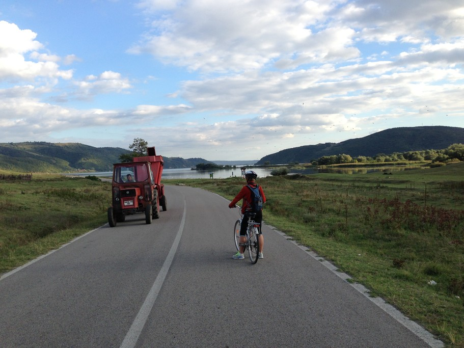 Take inthe lush landscape as you cycle along mostly flat terrain