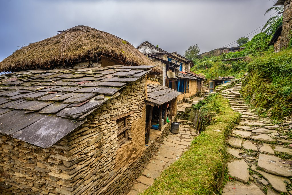 Village of Dhampus situated in the Himalayas mountains near Pokhara