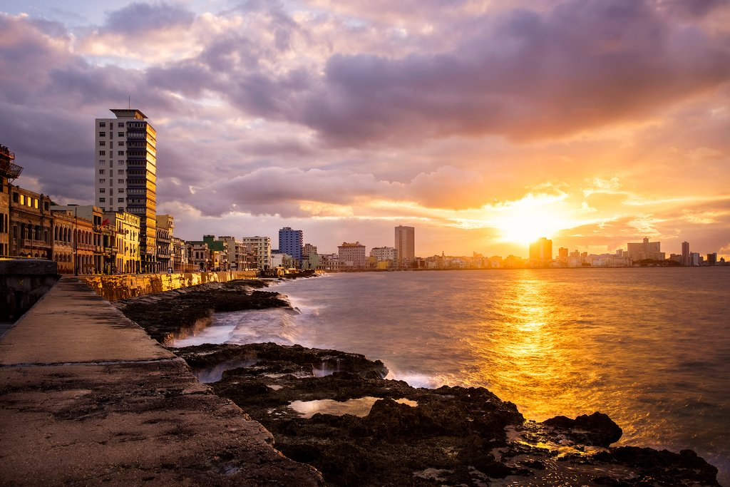 Romantic sunset at the Malecon in Havana