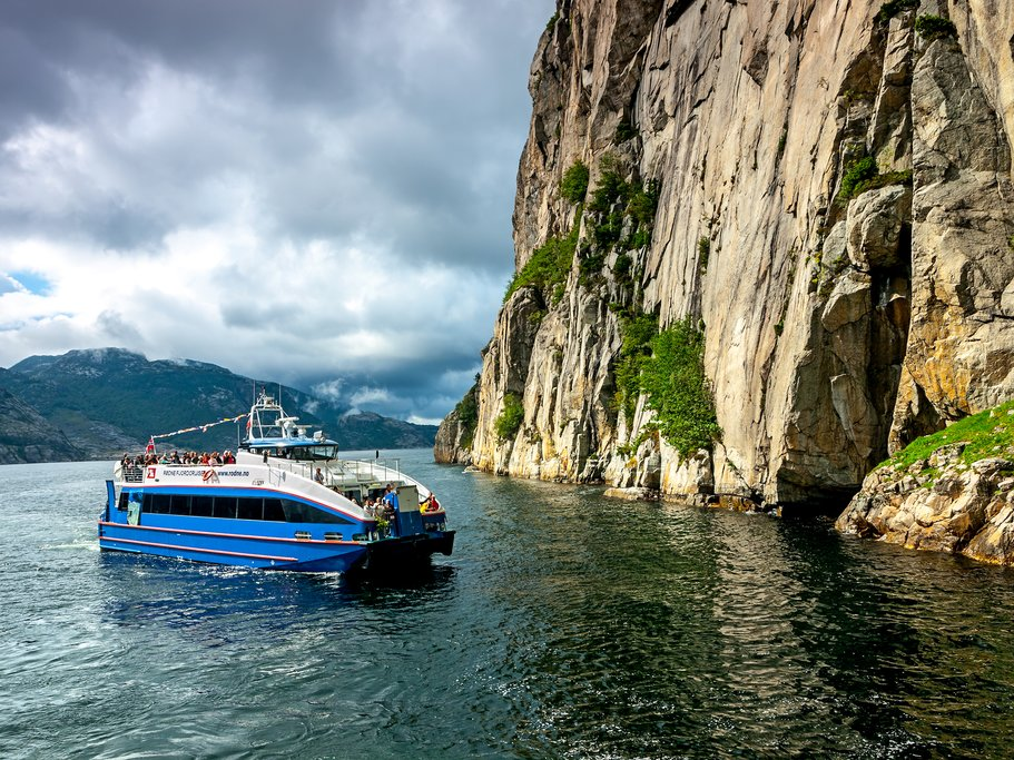 A ferry headed to Flørli in the Lysefjord