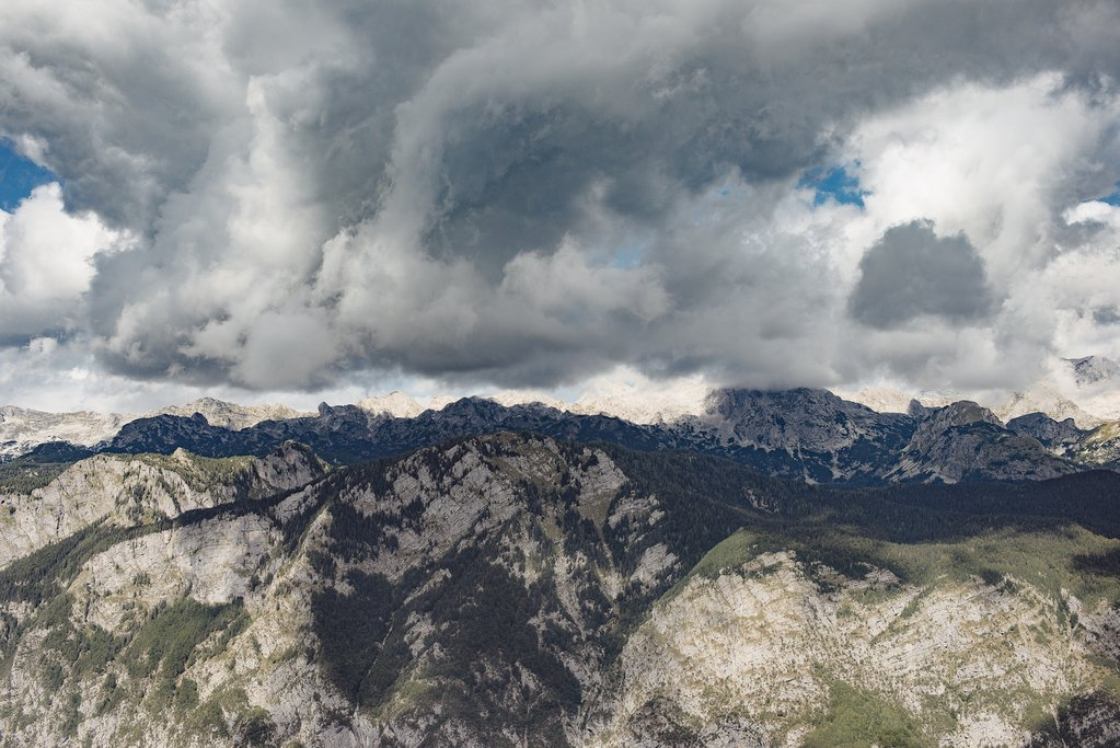 Stormy clouds over the Julian Alps, Slovenia