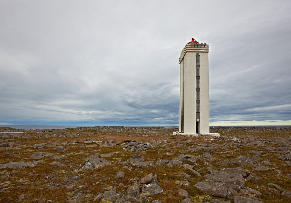 Lighthouse at Hraunhafnartangi in West Melrakkaslétta