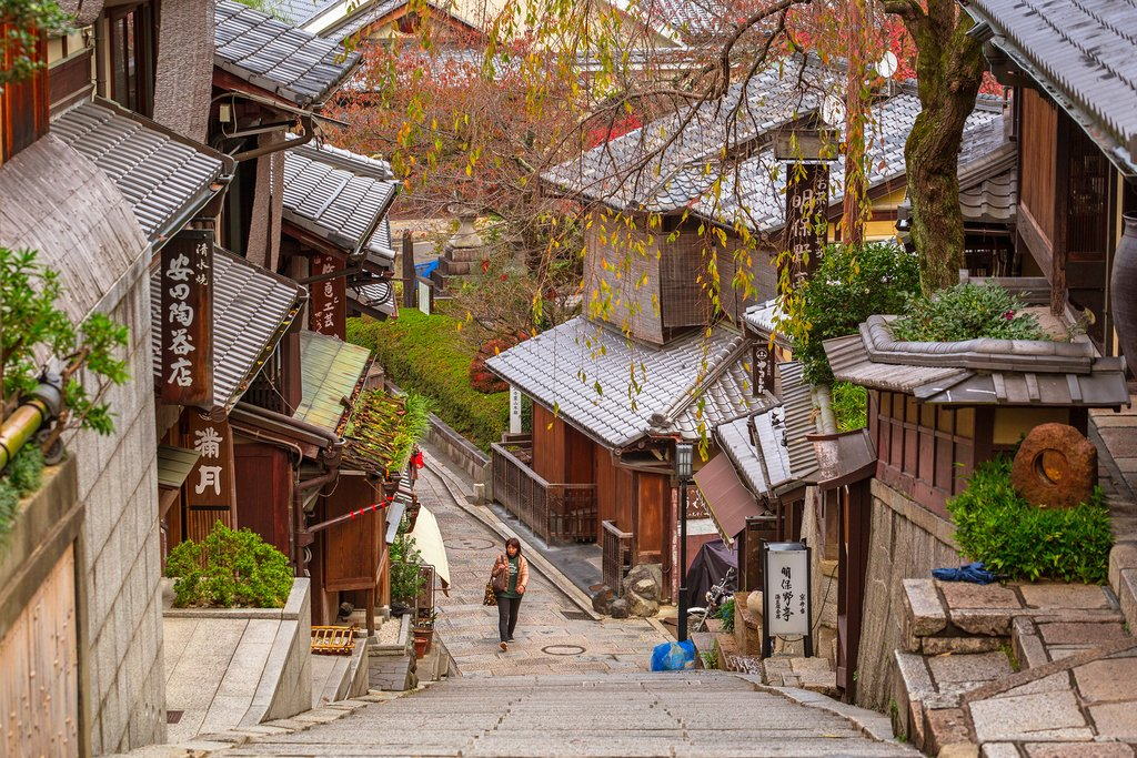 Explore the old town district of historic Kyoto