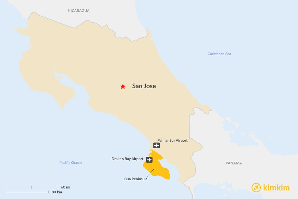 The location of Osa Peninsula in Costa Rica