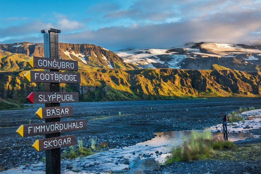 Signpost in Thorsmork hiking area between Thorsmork and Eyjafjallajokull and Krossa riverbed
