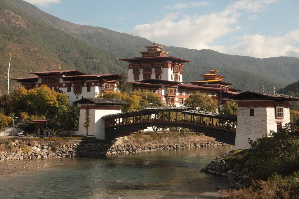 Suspension bridge over the Punakha Chu (River)
