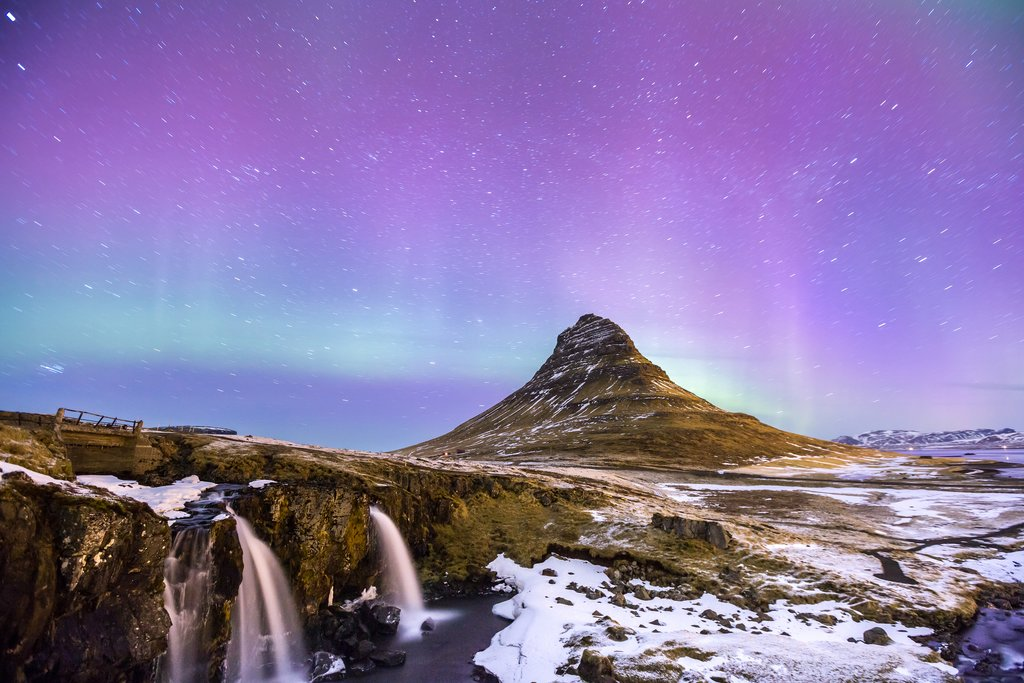 Winter northern lights over Kirkjufell