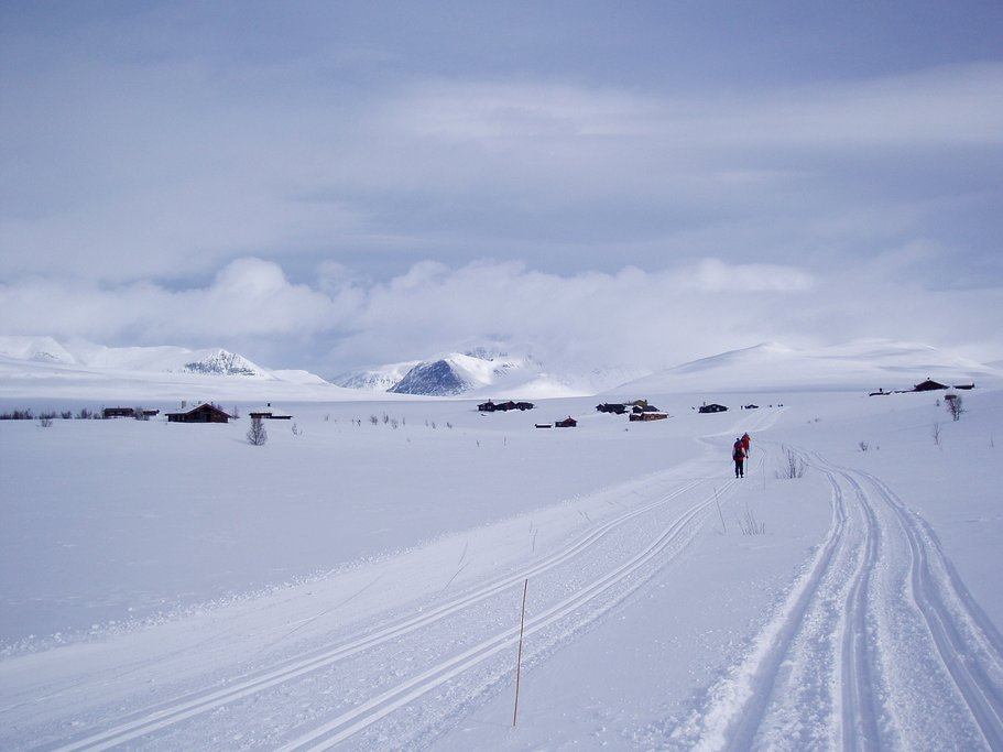 figures on cross-country ski trails with several lodges and cabins in the background on the lefthande side