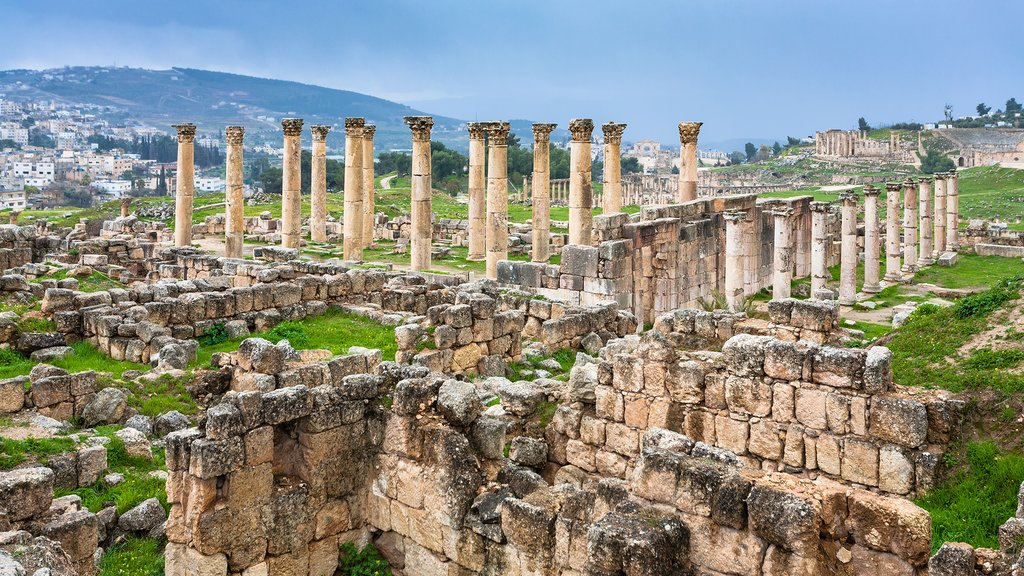 Corinthian columns at Jerash historic site