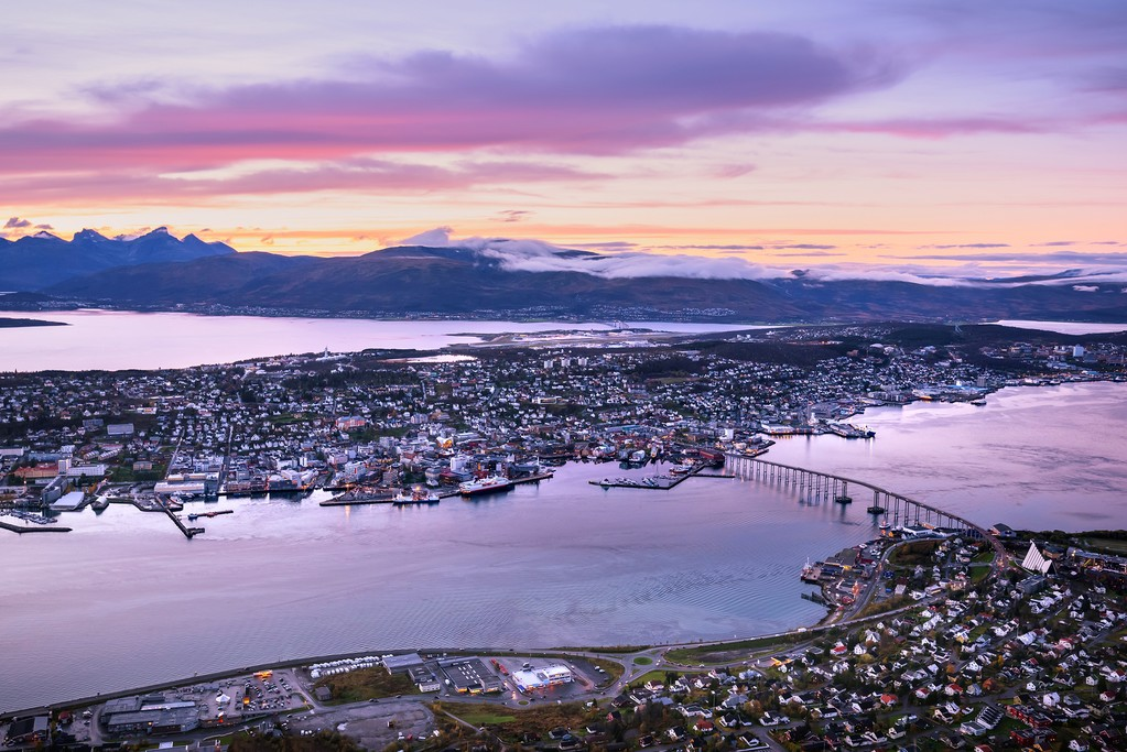 Aerial view over Tromsø, Norway