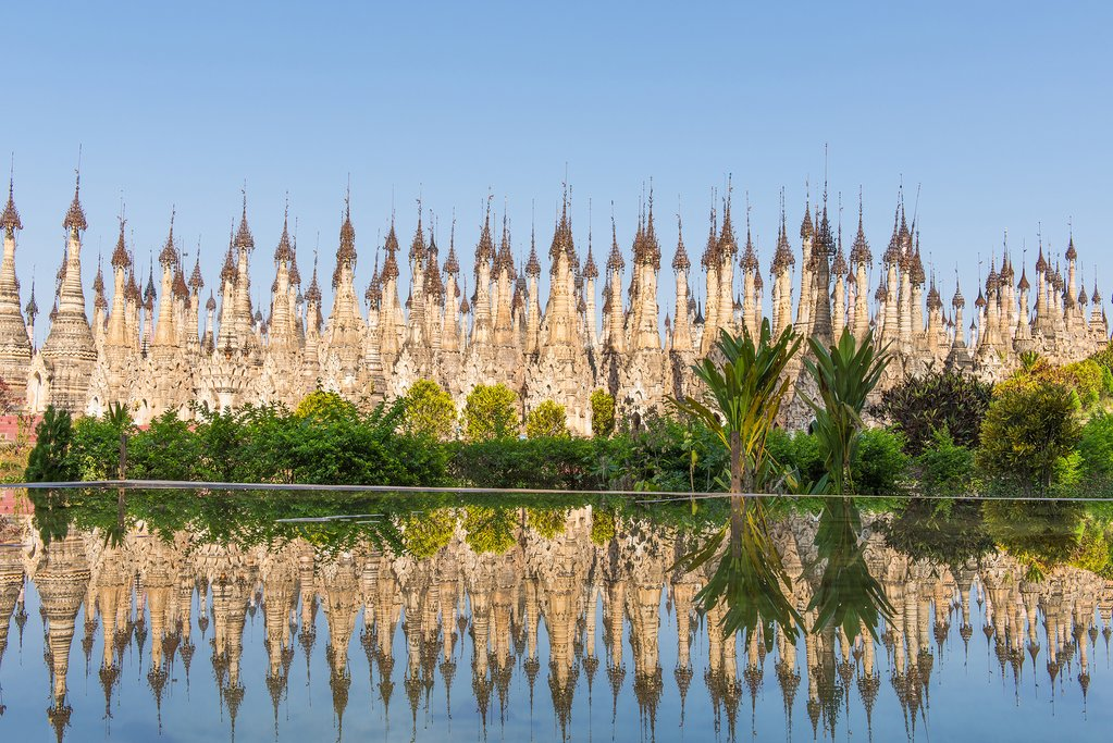 Around 2500 pagodas line the water in eastern Myanmar